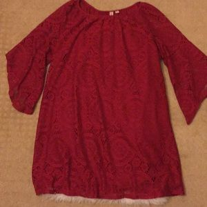 Dark Red Lace Boho Dress